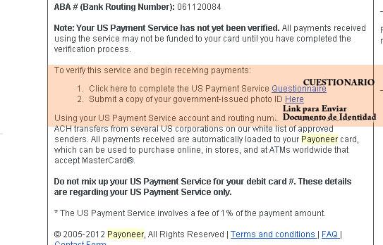 formulario Us payment